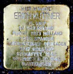 Stolperstein bij voormalige woning van Kuttner in Burgherrenstraße 4, Berlin Tempelhof