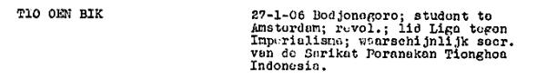 Tio Oen Bik - Rapport Centrale Inlichtingendienst 1939