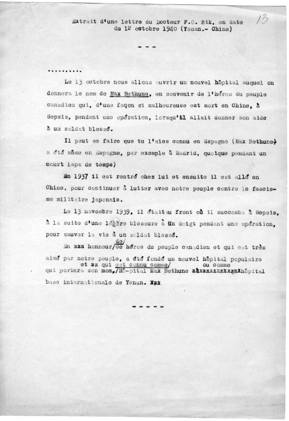 Extract uit brief van Tio Oen Bik, 12 Oktober 1940 Yenan China