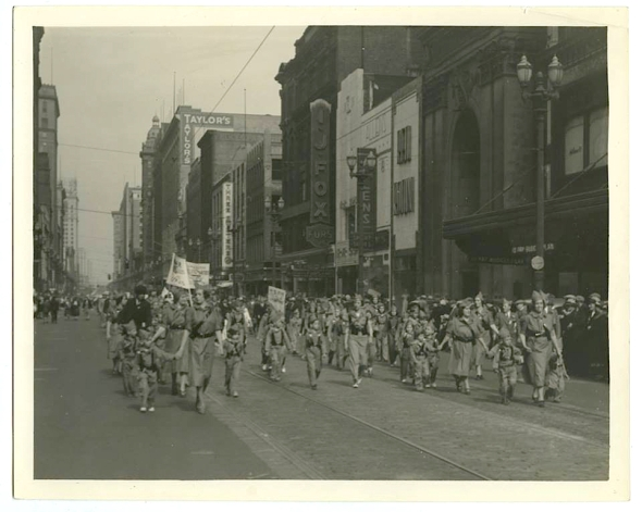 Optocht aanhangers Spaanse Republiek  Euclid Avenue, Cleveland, Ohio 1937