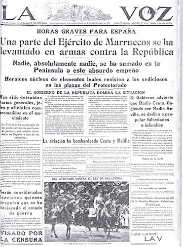 La Voz 18 juli 1936 Moorse leger komt in opstand