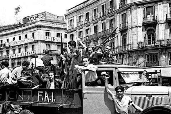 Madrid 18 juli 1936, volksmilities verdedigen de Republiek