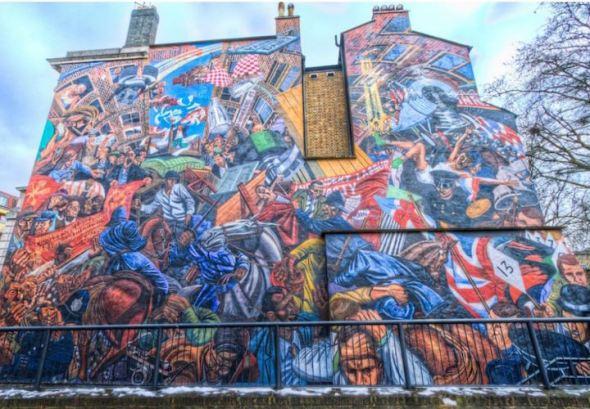 Muurschildering slag om Cable Street