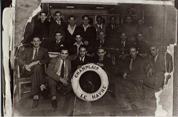 Cubaanse Interbrigadisten op het schip Champlain Januari 1937. CEDOBI
